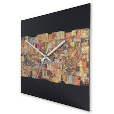 Square 30cm Abstract Wall Clock On Black Plexiglass