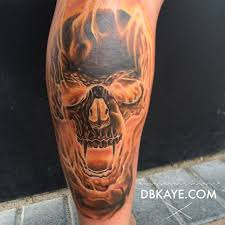 Flaming Fire Skull Tattoo Dbkaye