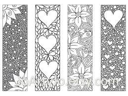 Valentines Bookmarks To Print And Color Zentangle Inspired Hearts Flowers Printable Coloring Digital Download Sheet 8