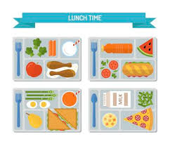 Set Lunches On A Tray Healthy Food Business Or School Lunch Flat Style