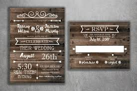 Rustic Country Wedding Invitations Set Printed