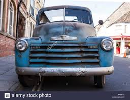 100 1950 Chevrolet Truck Front View Of A Blue Pickup Stock Photo