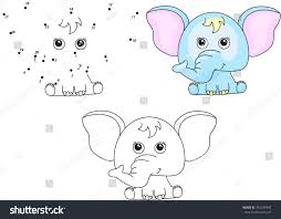 Funny And Cute Elephant Vector Illustration For Kids Dot To Game Coloring