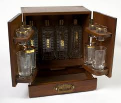Make Liquor Cabinet Ideas by Prohibition 1930s Compact Liquor Cabinet W 4 Crystal Decanters
