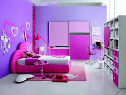 Chic Girl Bedroom Decor With Pink Stained Wooden Single Bed Master Wall Paint Adorable Purple House