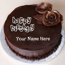 Happy Birthday Chocolate Cake With Flower and Your Name 319