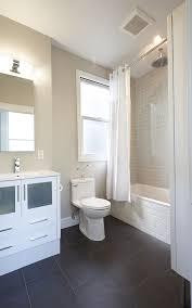 subway tile in bathroom bathroom transitional with gray floor