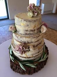 My Own 3 Tier Naked Carrot Wedding Cake With Vanilla Buttercream Gold Leaf And Fresh