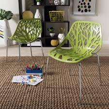 100 Birch Dining Chairs Baxton Studio Sapling Green Plastic Set Of 2