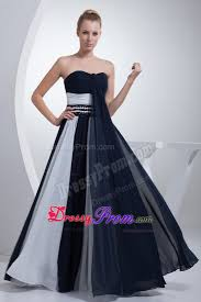navy blue and white ruched prom formal dresses