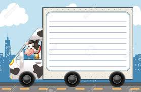 100 Cow Truck Line Paper Template With In The Illustration Royalty Free