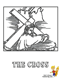 Easter Printouts Of Jesus Bears His Cross At YesColoring