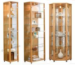 Light Brown Hexagon Modern Wooden Display Cabinets With Glass And Clock Ideas Brilliant