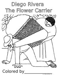 Famous Mexican Mural Artists by Diego Rivera The Flower Carrier Coloring Pages Frida Kahlo