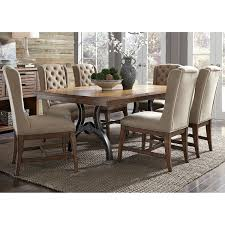 Arlington House Cobblestone Brown 7-piece Trestle Table Set ... Modern Rustic 5piece Counter Height Ding Set Table With Storage Shelves Arlington House Trestle With 2 Upholstered Host Chairs Side And Bench Slat Back All Noble Patio Round Wicker Outdoor Multibrown Details About Delacora Webd48wai 5 Piece Steel Framed Barnwood Conference Room Tables 10 Styles To Choose From Ubiq Imagio Home 3piece Drop Leaf Black Leg 4 Best Spring Brunches Argos Tribeca Oak Two Farmhouse Pine Action Charcoal Liberty Fniture Industries Spindle Chair Of