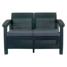 corfu resin patio love seat with cushions gray keter target