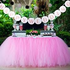 AerWo 1 Tutu Table Skirt HAPPY WEDDING Banner Pink Queen Snowflake Tulle