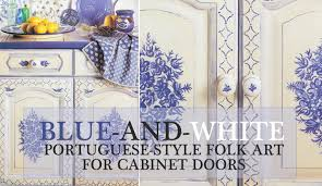 blue and white portuguese style folk for cabinet doors