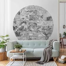 runde tapete selbstklebend steinwand naturmarmor grau