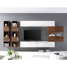 wohnzimmerwand in nussbaumfarben und weiß hochglanz 340 cm breit 5 teilig
