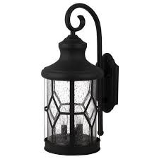 iol210bk 3 light outdoor wall sconce in black with seeded glass
