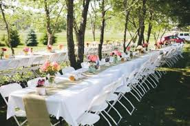 Burlap Table Runners At Rustic Wedding Backyard