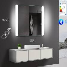 badspiegel led mit bluetooth lautsprecher 80x81cm badezimmer