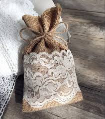 EWFB070 Country Rustic Lace Linen Sachet Favor Bag Burlap Drawstring Bridal