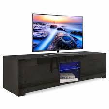 yoleo tv lowboard fernsehschrank fernsehtisch tv schrank mit led beleuchting stehend tv regal 130x35x35 cm schwarz