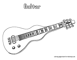Guitar Coloring Page Grand Guitars Free Electric Picture