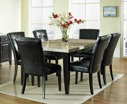 Small Dining Room Interior Design Ideas With Modern Black Leather Upholstered Chairs And Faux Marble