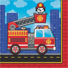 100 Fire Truck Birthday Party Flaming Luncheon Napkin Case Pack Of 192