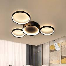 zmh led deckenleuchte deckenle modern 4 flammig in ring design dimmbar mit fernbedienung 52w für schlafzimmer wohnzimmer flur büro arbeitszimmer