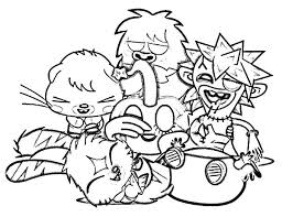 Moshi Laughing With Monster Coloring Pages PagesFull Size