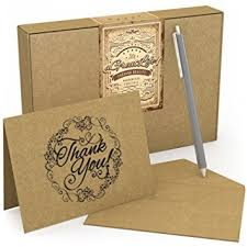 50 Count Krafty Thank You Cards With Envelopes Free Pen Best Note Card