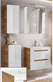 lomadox badezimmermöbel set in hochglanz weiß mit wotaneiche 60cm keramik waschtisch mit unterschrank led spiegelschrank unterschrank