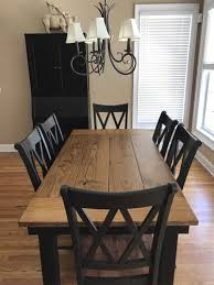 6 X 37 Farmhouse Dining Table With An Early American Stained Top Featuring Endcaps