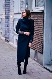 Maja Wyh Navy Blue Coat Winter Style Street Fashion Km