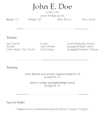Talent Resume Sample Examples For Actors Actor