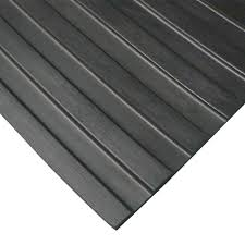 Rubber Cal Corrugated Wide Rib 3 Ft X 8 Black Flooring