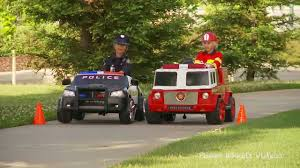 100 Power Wheels Fire Truck Kids Police Car Vs Engine Race YouTube