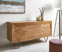 sideboard wyatt 150x45 cm akazie natur edelstahl 2 türen