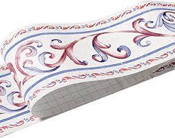 uoisaiko pvc tapete bordüre selbstklebend wandbordüre küche tapetenbordüre für badezimmer bordüren 10cm x 5m wandbordüre für wohnzimmer dekoration