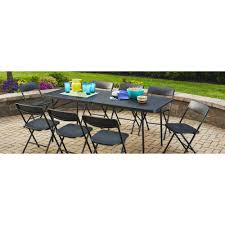 Mainstays 6' Fold-in-Half Table, Black - Walmart.com | Patio ... Mainstays Cambridge Park Wicker Outdoor Rocking Chair Folding Plush Saucer Multiple Colors Walmartcom Mahogany With Sling Back Natural 6 Foldinhalf Table Black Patio White Solid Wood Slat Brown Shop All Chairs