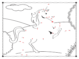 Unicorn Connect The Dots Coloring Page Free