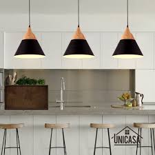 modern wood pendant lights industrial black aluminum mini led