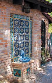 Accessories Charming Ideas For Home Exterior Decoration With Flower Blue Tile Wall Fountain Including