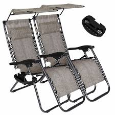 2 Zero Gravity Recline Chairs Folding Garden Camping Beach Sun Lounger  W/Canopy