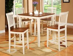 5PC SQUARE PUB COUNTER HEIGHT TABLE SET 4 STOOLS WHITE EBay ...