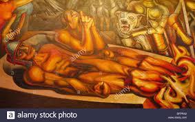 el tormento de cuauhtemoc mural painting by david alfaro